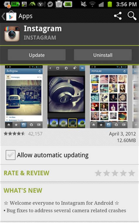 Download Instagram for Android from Google Play Store App