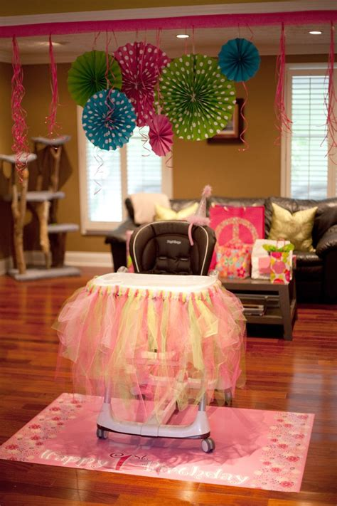 Olivia's 1st birthday high chair decorations! | 1st