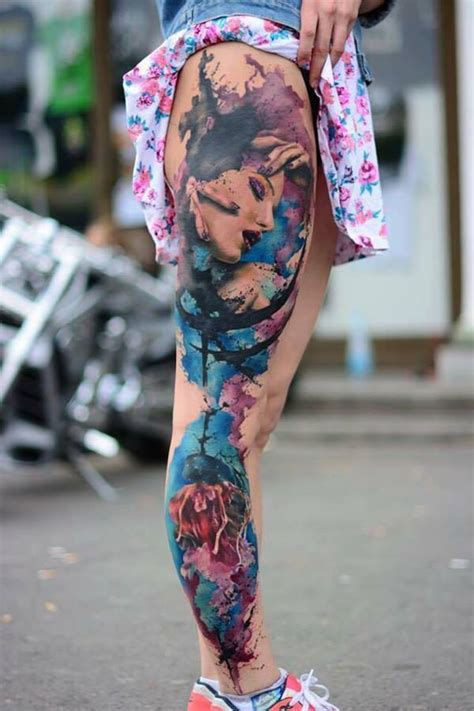 Extremely Amazing Girl Face Watercolor Tattoo On Leg